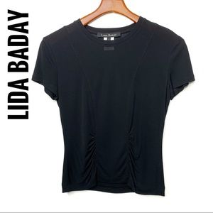 LIDA BADAY Black Jersey Knit Short Sleeve Tee Sz M